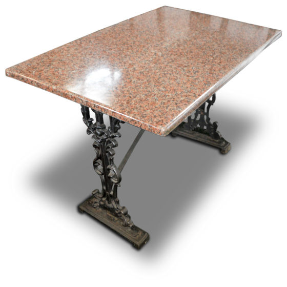 Marble Effect Table Cast Iron Base