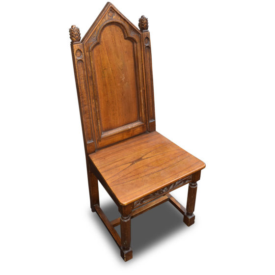 Gothic Solid Oak Chairs x2