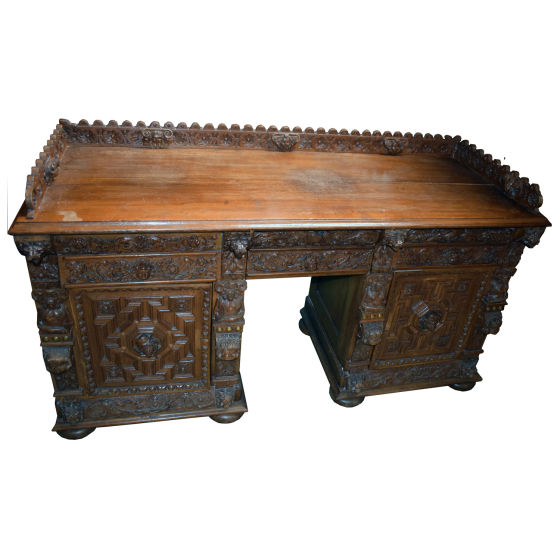 Oak Carved Desk