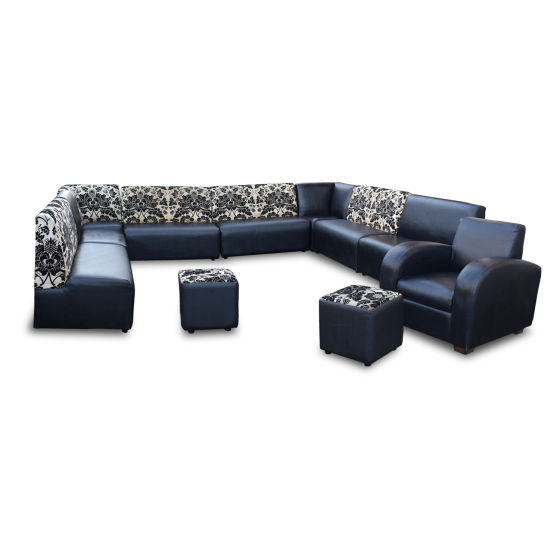 Black Faux Leather & Floral Fabric Seat Set