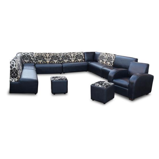 Black Faux Leather & Floral Fabric Seat Set