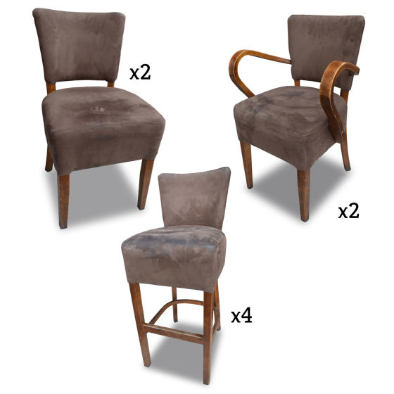 Brown Suede Chair Set