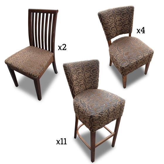 Brown Patterned Chair Set