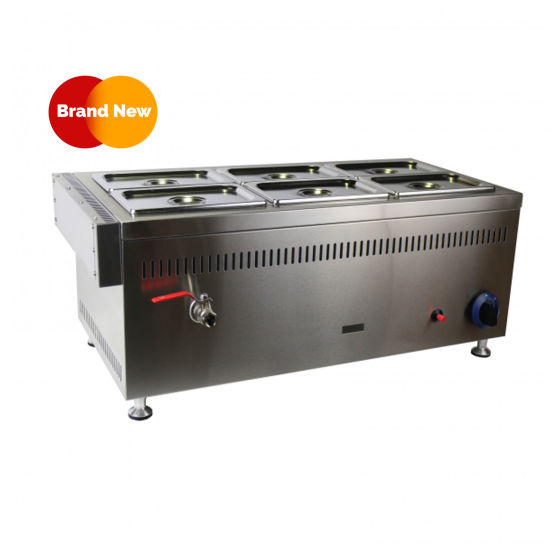 Bain Marie 2X GN1/4 & GN1/3 X3 Pans, Lids And Tap GAS