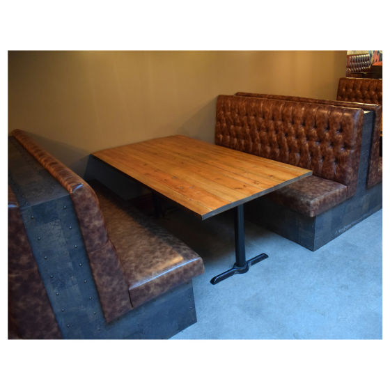 Brown Leather Booth Seating & Table Set