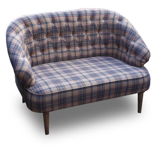 Fabric Sofa Blue & Cream