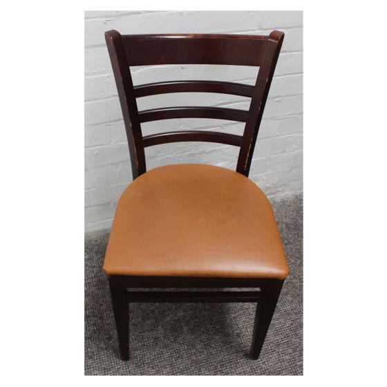 x31 Dark Wood Tan Leather Chairs