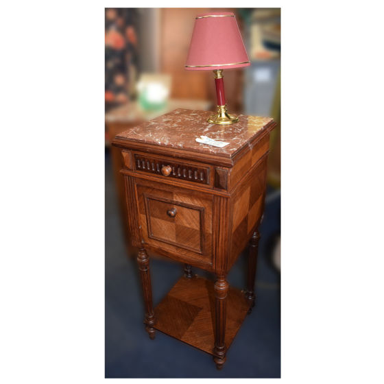 Edwardian Bedside with Marble Top