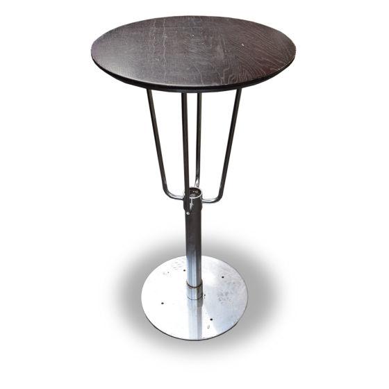 Round Dark Wood Poseur Tables