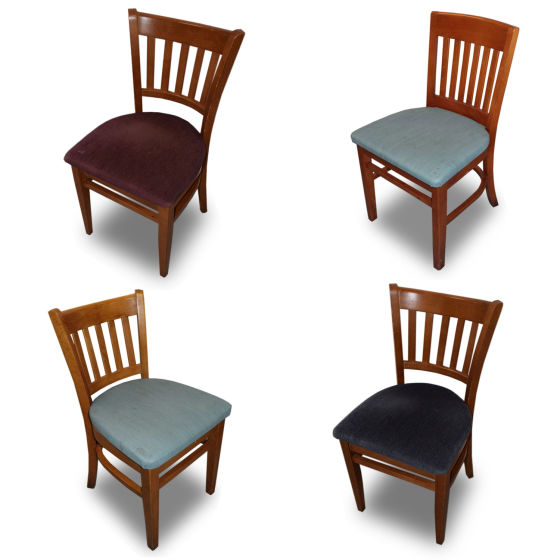 x3 Blue Fabric & Wood Chairs