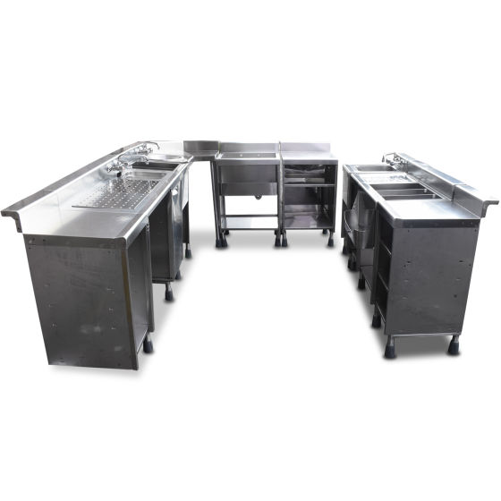 Complete Seven Piece Stainless Steel Back Bar Units