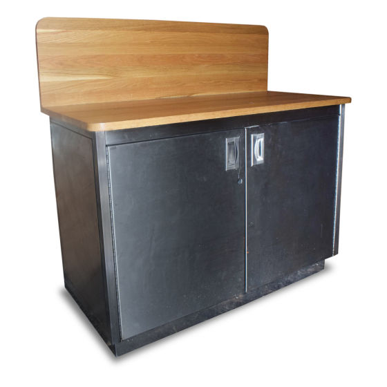 1.2m Prep Storage Counter With Solid Wood Top.
